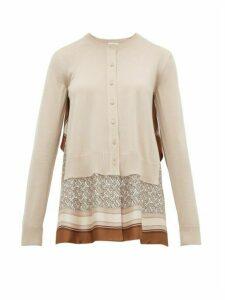 Burberry - Dreketi Scarf-hem Wool Cardigan - Womens - Beige Multi