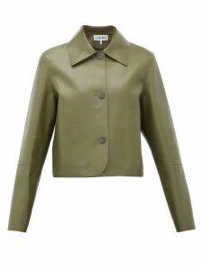 Loewe - Cropped Leather Jacket - Womens - Khaki