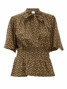 Burberry - Monogram-print Silk Blouse - Womens - Brown