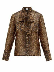 Burberry - Amelie Leopard-print Tie-neck Mulberry-silk Blouse - Womens - Leopard