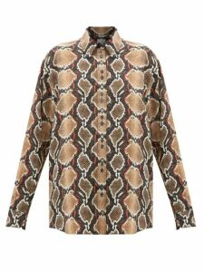 Burberry - Carlota Snake-print Mulberry-silk Shirt - Womens - Animal