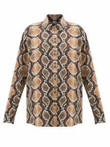 Burberry - Carlota Snake-print Mulberry-silk Shirt - Womens - Animal