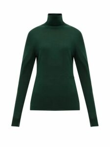 Burberry - Logo-embroidered Roll-neck Cashmere-blend Sweater - Womens - Dark Green