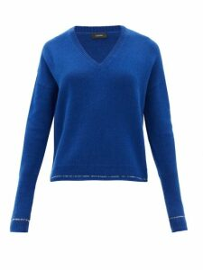Joseph - Contrast-stripe Cashmere Sweater - Womens - Blue