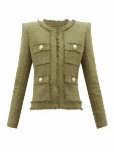 Balmain - Raw-edge Cotton-blend Tweed Blazer - Womens - Khaki