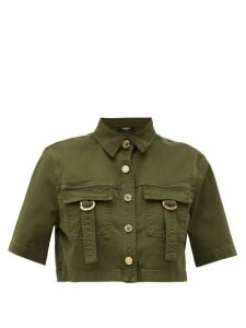 Balmain - Military Cropped Cotton-blend Shirt - Womens - Khaki