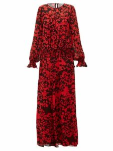 Preen Line - Esme Floral-print Pintucked Maxi Dress - Womens - Black Red