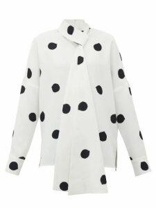 Tibi - Neck-tie Polka-dot Crepe Top - Womens - White Black