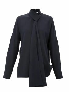 Tibi - Pussy-bow Silk Crepe-de-chine Blouse - Womens - Navy