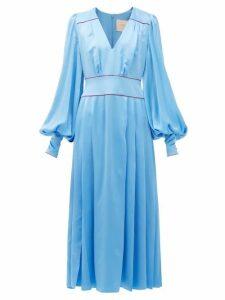 Roksanda - Teruko Pleated Silk-charmeuse Midi Dress - Womens - Blue