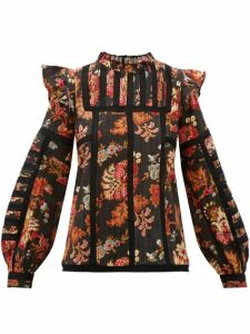 Sea - Pascale Floral-print Ruffled Cotton-jacquard Top - Womens - Black Multi