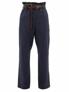 Sea - Scott Belted Paperbag Stretch-cotton Trousers - Womens - Navy