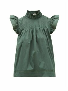 Sea - Clara Pintucked Ruffled Cotton-blend Blouse - Womens - Green