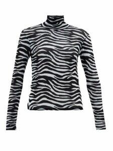 Staud - Zebra-print Roll-neck Mesh Top - Womens - White Black