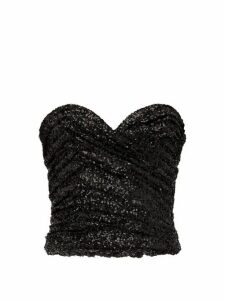 Saint Laurent - Sequinned Bustier Top - Womens - Black