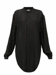 Saint Laurent - Metallic-striped Pplin Shirt - Womens - Black Silver