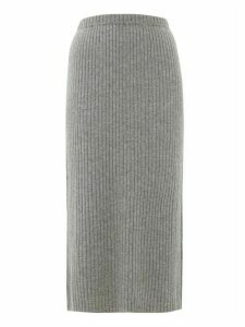 Allude - Ribbed Split-hem Cashmere Skirt - Womens - Dark Grey