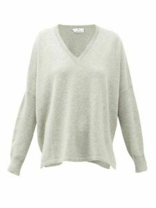Allude - V-neck Oversized Cashmere Sweater - Womens - Grey