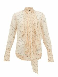 Petar Petrov - Calida Polka-dot Silk-blend Blouse - Womens - Black / Cream
