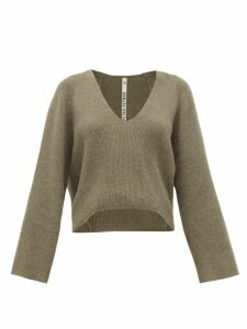 Petar Petrov - Keeene V-neck Cropped Cashmere Sweater - Womens - Light Grey