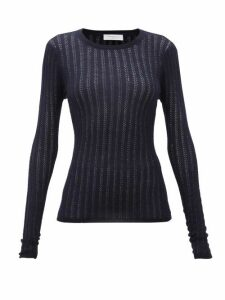 Gabriela Hearst - Collins Pointelle Ribbed Cashmere-blend Sweater - Womens - Navy