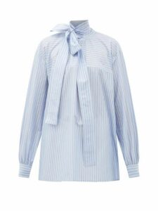 Rochas - Pussy-bow Striped Cotton Blouse - Womens - Blue White