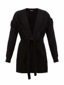 Altuzarra - Trailblazer Fringe-trim Belted Cardigan - Womens - Black