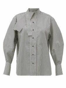 Palmer//harding - Sara Cotton-blend Neck Tie Shirt - Womens - Black White