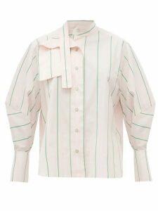 Palmer//harding - Sara Striped Cotton Neck Tie Shirt - Womens - Pink Multi