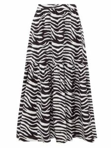 Staud - Orchid Zebra-print Cotton-blend Midi Skirt - Womens - Black White