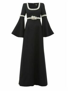 Andrew Gn - Flare Sleeve Crystal-embellished Crepe Gown - Womens - Black