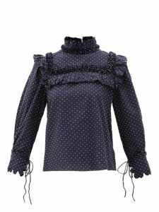 Horror Vacui - Hilaria Ruffled Polka Dot Fil-coupé Blouse - Womens - Navy