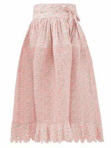 Horror Vacui - Lydia Kitten-print Pintucked Cotton Skirt - Womens - Pink