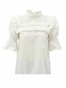 Horror Vacui - Lucy Ruffle-bib Cotton-poplin Blouse - Womens - White