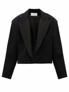 Raey - Exaggerated-shoulder Cropped Wool-blend Tux Jacket - Womens - Navy