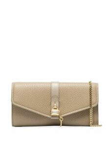 Chloé Aby leather clutch bag - NEUTRALS