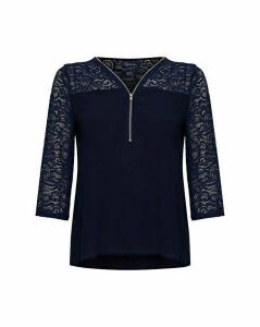 Yumi Curves Navy Lace Top With Zip Detai