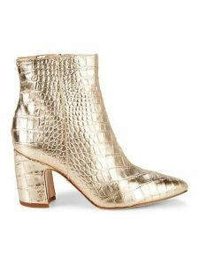 Hilty 2 Metallic Croc-Embossed Leather Booties