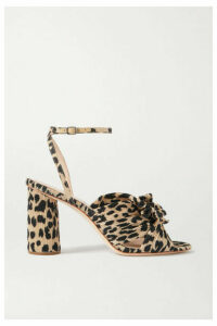Loeffler Randall - Camellia Bow-embellished Leopard-print Plissé Sandals - Leopard print