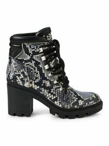 Kini Snakeskin-Embossed Leather Booties