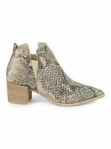 Bianca Snakeskin-Embossed Leather Booties
