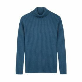 Villao Teal Roll-neck Cashmere Jumper