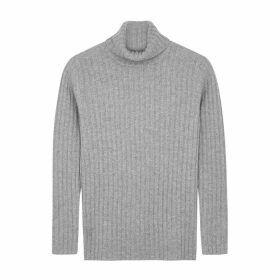 Villao Light Grey Roll-neck Cashmere Jumper