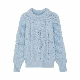 Villao Blue Cable-knit Wool-blend Jumper