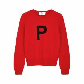 Hades Alphabet P Red Wool Jumper