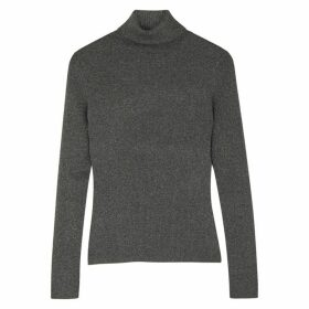 3.1 Phillip Lim Grey Metallic-weave Ribbed-knit Top
