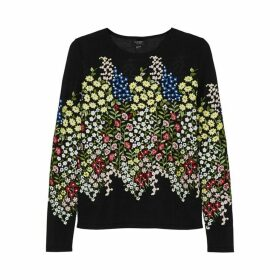 Giambattista Valli Black Floral-embroidered Cashmere-blend Jumper