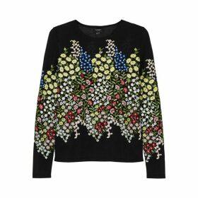 Giambattista Valli Black Floral-embroidered Cashmere-blend Jumper