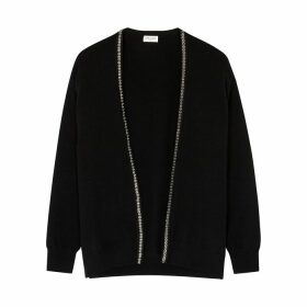 Saint Laurent Black Embellished Cashmere Cardigan
