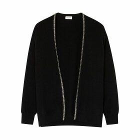 Saint Laurent Black Embellished Cashmere Cardigan